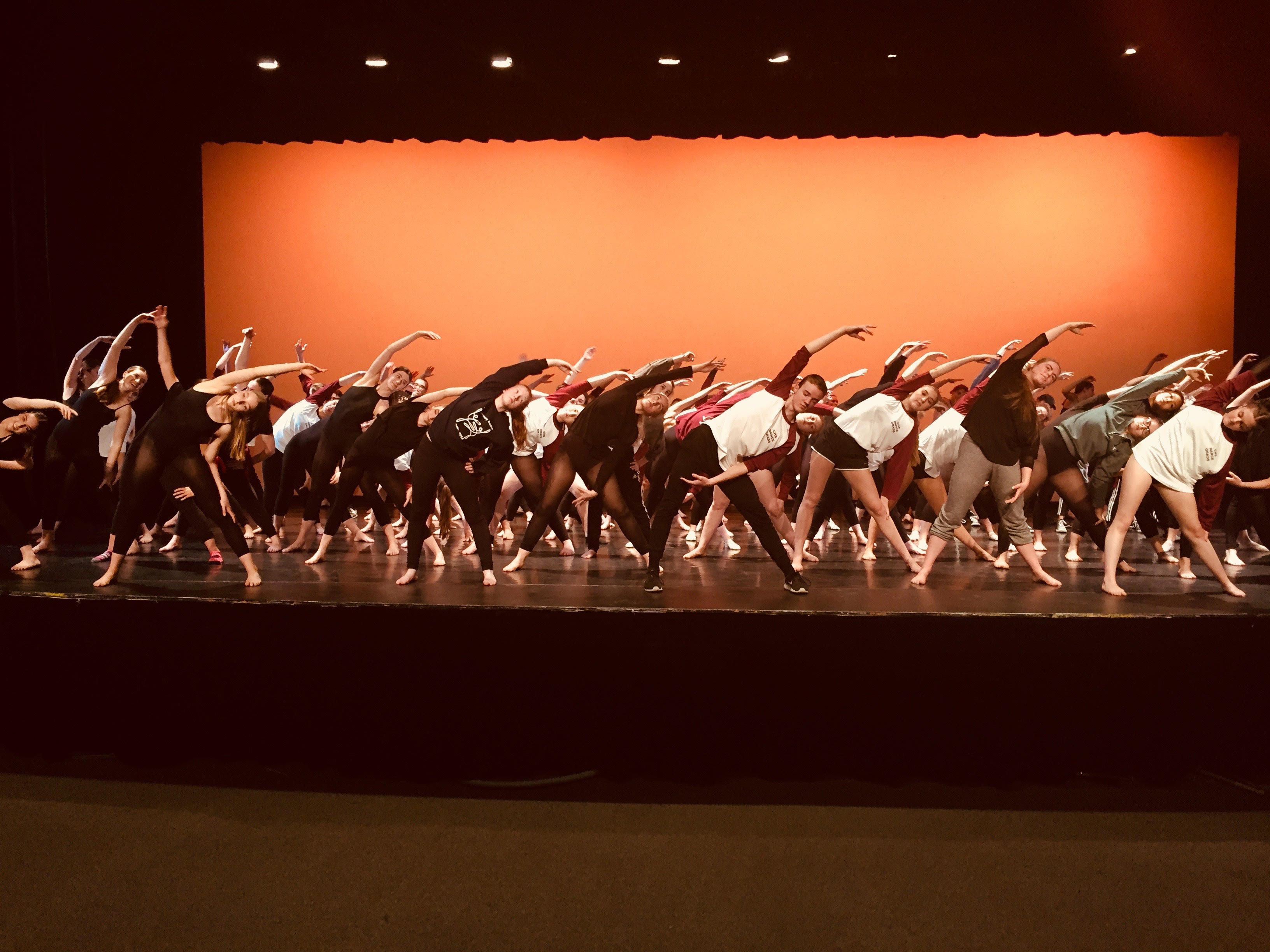 Pre-performance warm-up on the stage